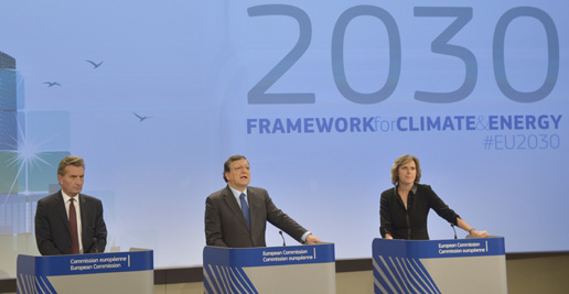 Günther Oettinger, José Manuel Barroso and Connie Hedegaard (f